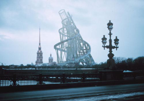 hypothetical view of Talin's Tower next to Saints Peter and Paul Cathedral in St Petersburg