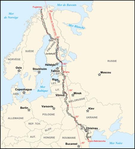 Struve Geodetic Arc map