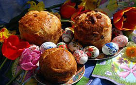 Easter bread and pysanki